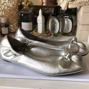 Silver peep toe flats!